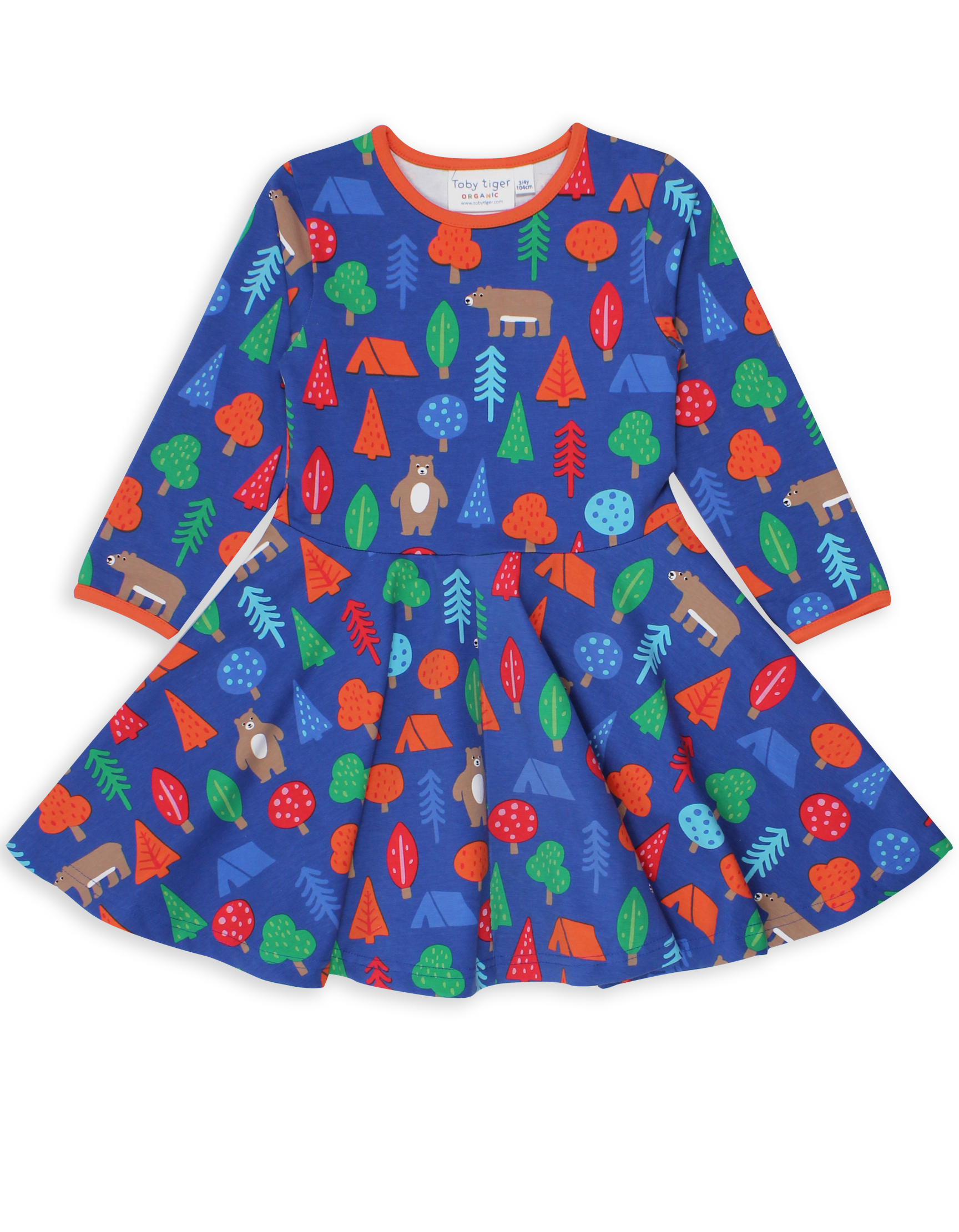 Organic Camping Bear Print Long Sleeve Skater Dress